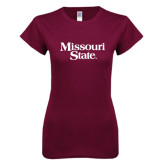 Next Level Ladies SoftStyle Junior Fitted Maroon Tee-Missouri State