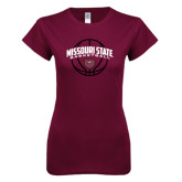 Next Level Ladies SoftStyle Junior Fitted Maroon Tee-Missouri State Basketball Arched w/ Ball
