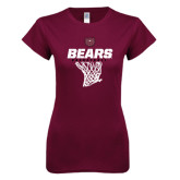 Next Level Ladies SoftStyle Junior Fitted Maroon Tee-Bears Basketball Hanging Net