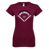 Next Level Ladies SoftStyle Junior Fitted Maroon Tee-Bears Baseball Arched in Diamond