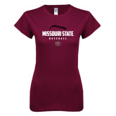 Next Level Ladies SoftStyle Junior Fitted Maroon Tee-Missouri State Baseball Stacked