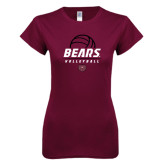 Next Level Ladies SoftStyle Junior Fitted Maroon Tee-Bears Volleyball Stacked
