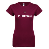 Next Level Ladies SoftStyle Junior Fitted Maroon Tee-Volleyball w/ Ball