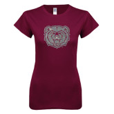 Next Level Ladies SoftStyle Junior Fitted Maroon Tee-Bear Head Silver Soft Glitter