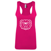Next Level Ladies Raspberry Ideal Racerback Tank-Bear Head