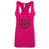 Next Level Ladies Raspberry Ideal Racerback Tank-Bear Head Hot Pink Glitter