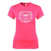Ladies Performance Hot Pink Tee-Bear Head