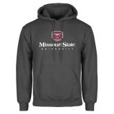 Charcoal Fleece Hoodie-Missouri State University Stacked w/ Bear Head