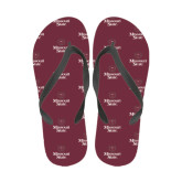 Ladies Full Color Flip Flops-Bear Head Missouri State Stacked
