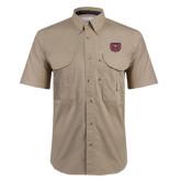Khaki Short Sleeve Performance Fishing Shirt-Bear Head