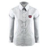 Ladies Red House White Long Sleeve Shirt-Bear Head