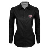 Ladies Black Twill Button Down Long Sleeve-Bear Head