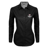 Ladies Black Twill Button Down Long Sleeve-Bear Head Missouri State Stacked