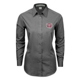 Ladies Grey Tonal Pattern Long Sleeve Shirt-Bear Head