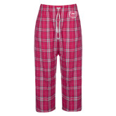 Ladies Dark Fuchsia/White Flannel Pajama Pant-Bear Head