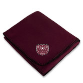 Maroon Arctic Fleece Blanket-Bear Head