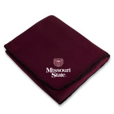 Maroon Arctic Fleece Blanket-Bear Head Missouri State Stacked