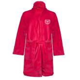 Ladies Pink Raspberry Plush Microfleece Shawl Collar Robe-Bear Head