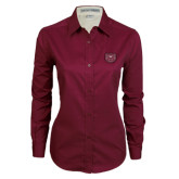 Ladies Maroon Twill Button Down Long Sleeve-Bear Head