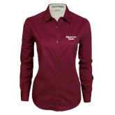 Ladies Maroon Twill Button Down Long Sleeve-Missouri State