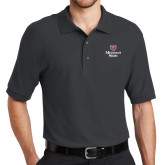 Charcoal Easycare Pique Polo-Bear Head Missouri State Stacked