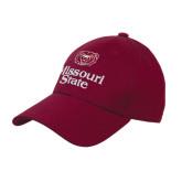 University Maroon Heavyweight Twill Pro Style Hat-Bear Head Missouri State Stacked