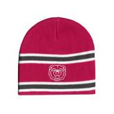 Pink/Charcoal/White Striped Knit Beanie-Bear Head