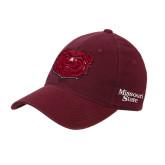 Maroon Flexfit Mid Profile Hat-Bear Head