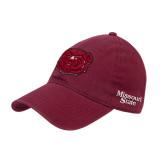 Maroon Twill Unstructured Low Profile Hat-Bear Head