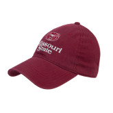 University Maroon Twill Unstructured Low Profile Hat-Bear Head Missouri State Stacked