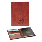 Fabrizio Brown RFID Passport Holder-Bear Head Engraved