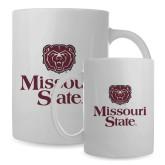 Full Color White Mug 15oz-Bear Head Missouri State Stacked