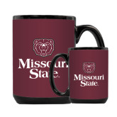 Full Color Black Mug 15oz-Bear Head Missouri State Stacked