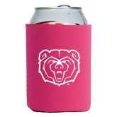 Collapsible Hot Pink Can Holder-Bear Head