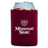 Collapsible Maroon Can Holder-Bear Head Missouri State Stacked