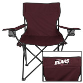 Deluxe Maroon Captains Chair-Slanted Bears w/ Bear Head