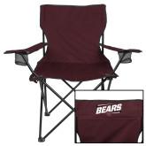Deluxe Maroon Captains Chair-Slanted Bears w/ Bear Head