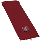 Maroon Golf Towel-Bear Head
