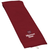 Maroon Golf Towel-Bear Head Missouri State Stacked