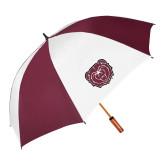 62 Inch Maroon/White Umbrella-Bear Head