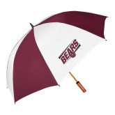 62 Inch Maroon/White Umbrella-Slanted Bears w/ Bear Head