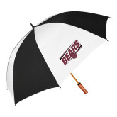62 Inch Black/White Umbrella-Slanted Bears w/ Bear Head