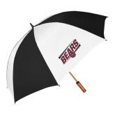 62 Inch Black/White Umbrella-Slanted Bears w/ Bear Head