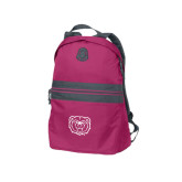 Pink Raspberry Nailhead Backpack-Bear Head