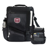Momentum Black Computer Messenger Bag-Bear Head