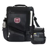 Momentum Black Computer Messenger Bag-Bear Head