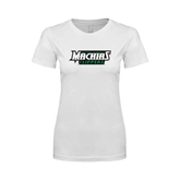 Next Level Ladies SoftStyle Junior Fitted White Tee-Maine Machias Clippers