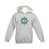Youth Grey Fleece Hood-UMM Ships Wheel