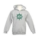 Youth Grey Fleece Hood-UMM Ships Wheel