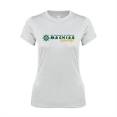 Ladies Syntrel Performance White Tee-University of Maine Machias Naturally